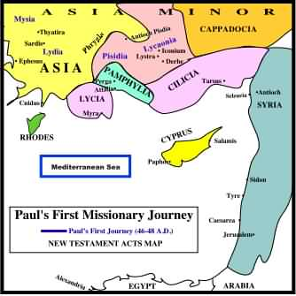 Map of Paul's First Missionary Journey - no lines so others can fill in.