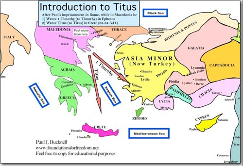 NT Map for Titus and Tmothy