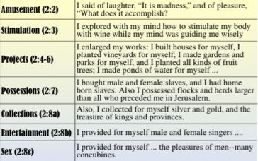 Ecclesiastes 2:1-11 Bible Study Questions \ The Pursuit of Pleasure